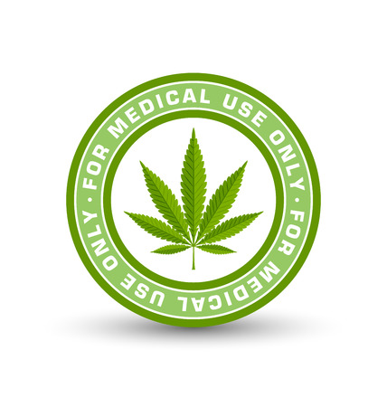 Medical use only badge with marijuana hemp (Cannabis sativa or Cannabis indica) leaf on white background