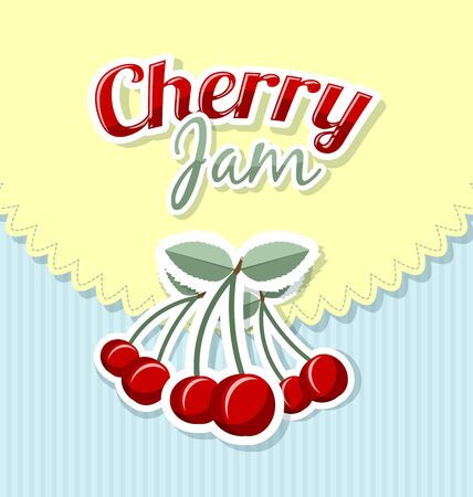 flesh colour: Retro cherry jam label with title on striped background