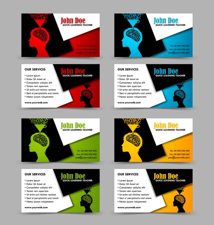 quick: Front and back sides of quick learning theme business cards isolated on grey background