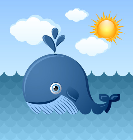 baleen whale: Cute blue whale character is swimming in the ocean with Sun and clouds in the background Illustration