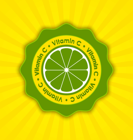 ascorbic: Vitamin C lemon badge in retro style on striped background Illustration