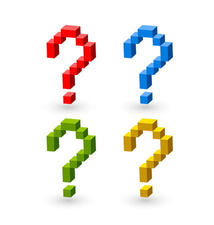 question: Question mark symbols made from red, blue, green and yellow cubes on white background Illustration