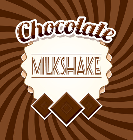 Chocolate milkshake label in retro style on twisted brown background