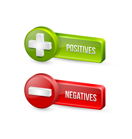 minus: Positives and negatives buttons isolated on white background Illustration