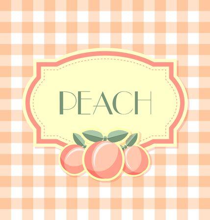 peach: Peach label in retro style on squared background Illustration