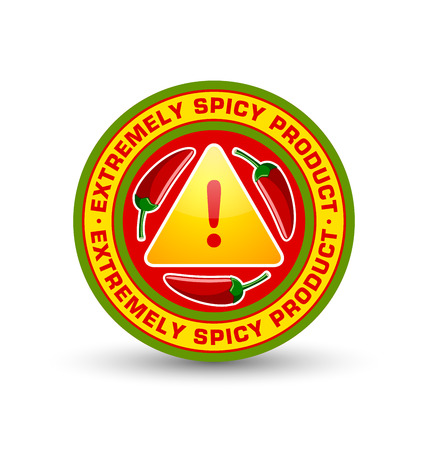 Extremely spicy product badge with three red chilli peppers and exclamation mark symbol placed on white background