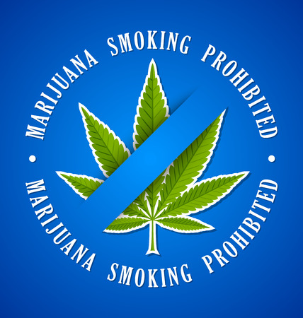 thc: Marijuana hemp (Cannabis sativa or Cannabis indica) smoking prohibited leaf icon on blue background