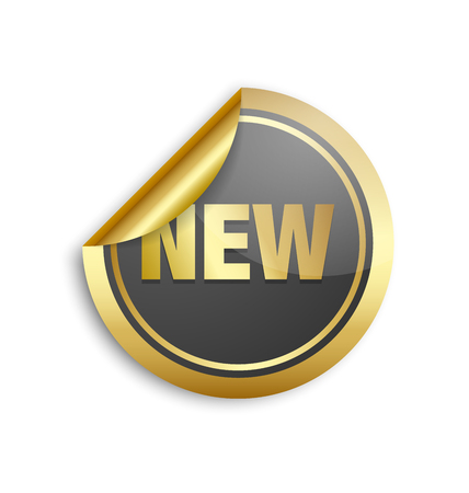 round button: Golden and black sticker with lettering NEW on white background