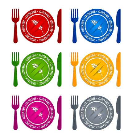 celiac: Colorful gluten free icons on white background