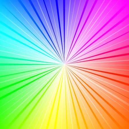 Colorful radial gradient background made of rainbow spectral colors with rays Illustration