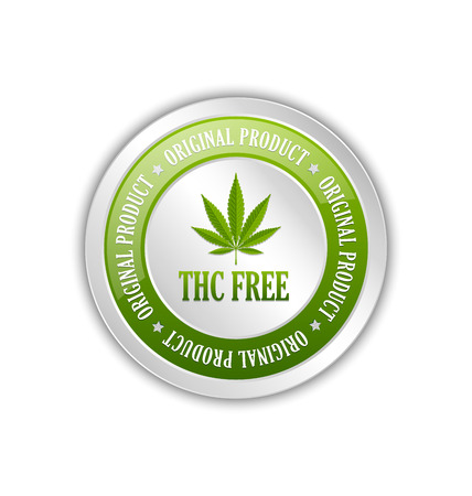 tetrahydrocannabinol: Marijuana hemp (Cannabis sativa or Cannabis indica) leaf icon or badge with title THC FREE on white background