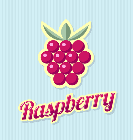 pale cream: Retro raspberry with title on striped background Illustration