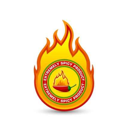 spicy chilli: Extremely spicy product fire shaped badge with burning red chilli pepper placed on white background