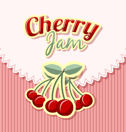 rinds: Retro cherry jam label with title on striped background