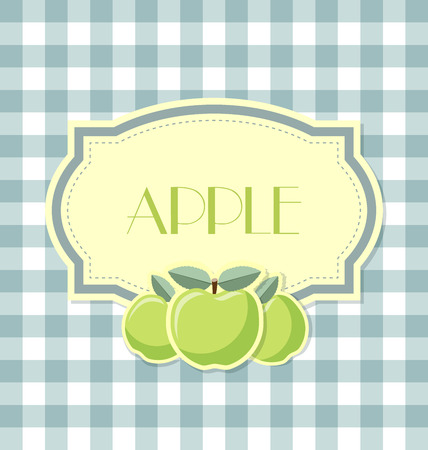 pome: Apple label in retro style on squared background