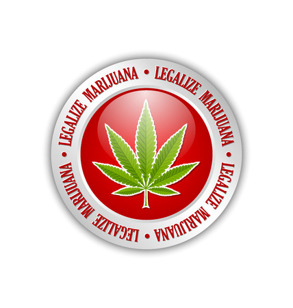 indica: Silver legalize marijuana hemp (Cannabis sativa or Cannabis indica) leaf icon or badge on white background