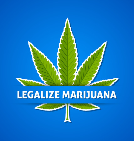 legalize: Legalize marijuana hemp (Cannabis sativa or Cannabis indica) leaf on blue background Illustration