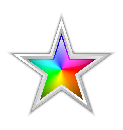 spectral: Colorful radial gradient in star shaped badge made of rainbow spectral colors placed on white background Illustration