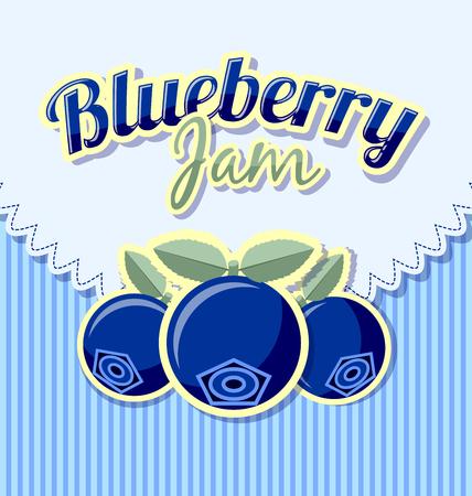 blueberry jam: Blueberry jam label with title on striped background Illustration