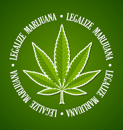 legalize: Legalize marijuana hemp (Cannabis sativa or Cannabis indica) leaf on green background