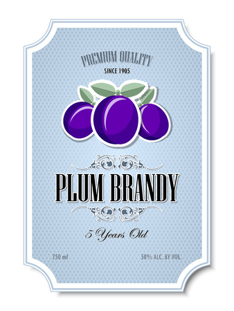 distilling: Premium quality 5 years old plum brandy distillate label on white background