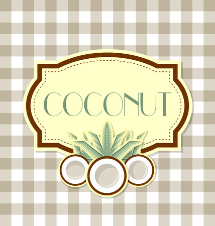 coco palm: Coconut label in retro style on squared background