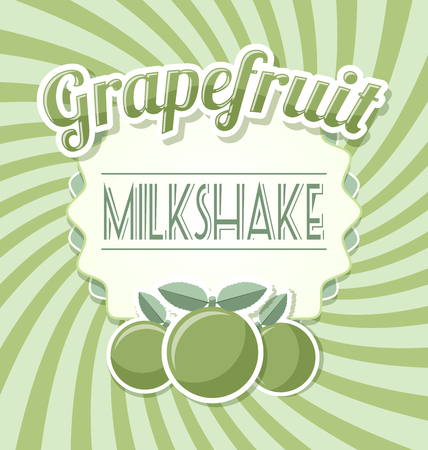 grapefruit: Grapefruit milkshake label in retro style on twisted background