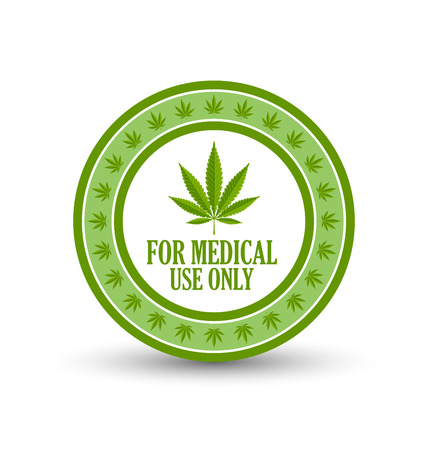 cannabinol: Medical use only badge with marijuana hemp (Cannabis sativa or Cannabis indica) leaf on white background