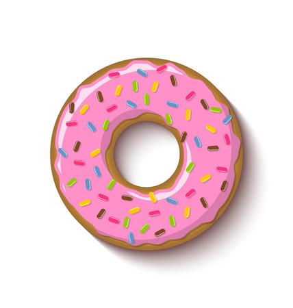Bague donut en forme recouverte de fraises aromatisé glaçage rose et placé sur fond blanc