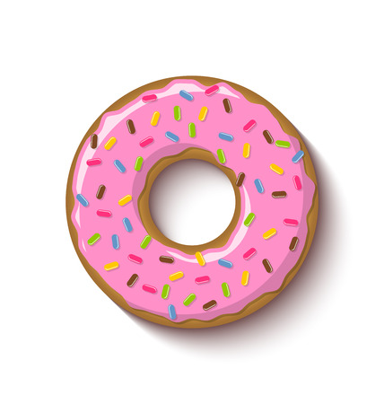 icing: Ring shaped donut covered with strawberry flavoured pink icing and placed on white background