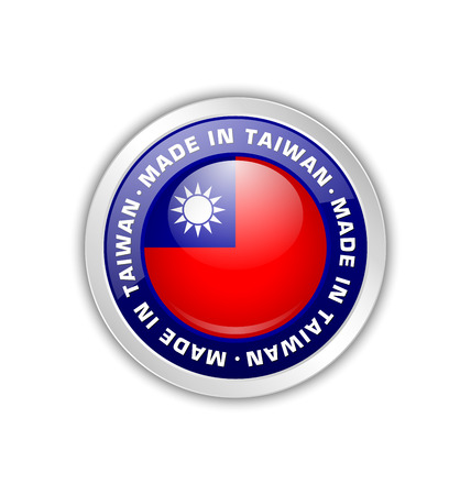 Made in Taiwan badge with Taiwanese flag in circular frame isolated on white background