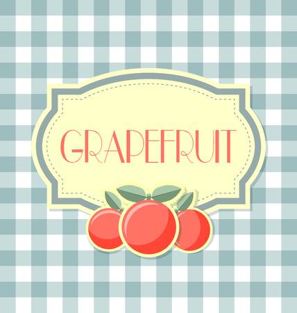 zest: Grapefruit label in retro style on squared background Illustration