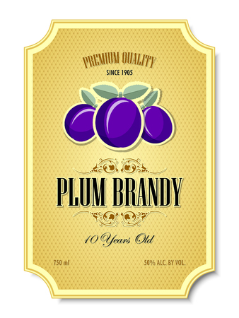 Premium quality 10 years old plum brandy distillate label on white background
