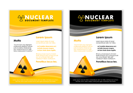 Nuclear yellow and black document templates with radiation sign