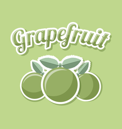 pale green: Retro grapefruit with title on pale green background Illustration