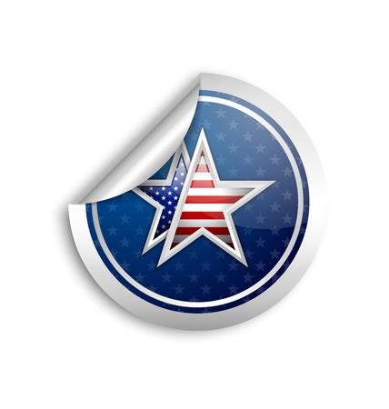 white sticker: Silver american star sticker placed on white background