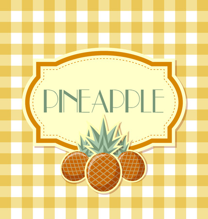squared: Pineapple label in retro style on squared background