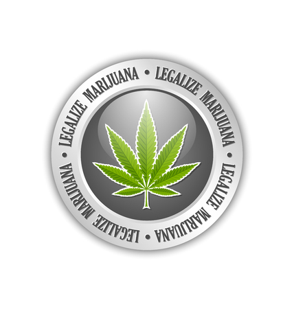 legalize: Silver legalize marijuana hemp (Cannabis sativa or Cannabis indica) leaf icon or badge on white background