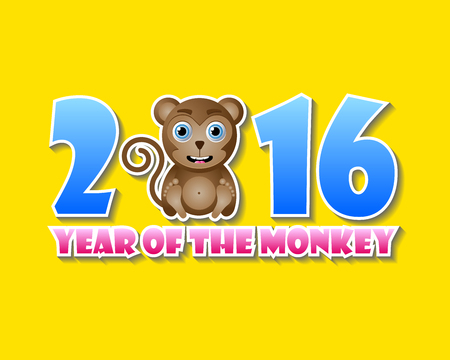 2016 year of the monkey chinese animal sign with lettering on white background vector - Chinese New Year 2016 Animal
