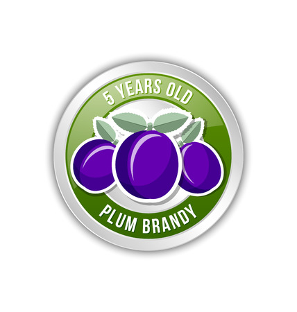 distilling: 5 years old plum brandy distillate badge on white background