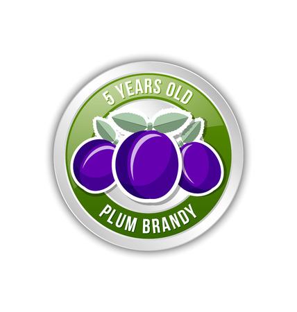 brandy: 5 years old plum brandy distillate badge on white background