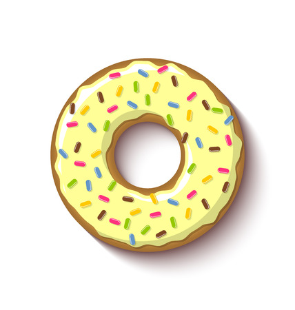 icing: Ring shaped donut covered with vanilla or lemon flavoured yellow icing and placed on white background Illustration