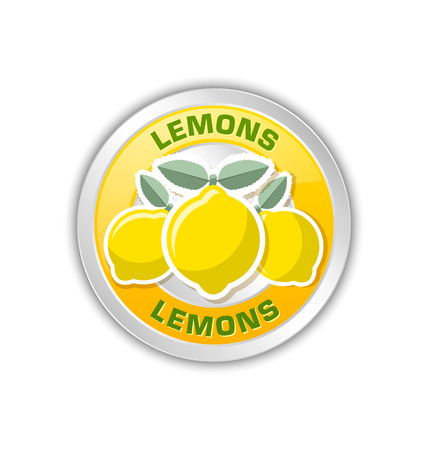 rinds: Yellow badge with three lemons placed on white background