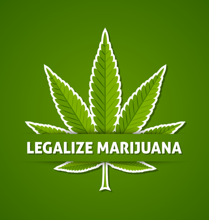indica: Legalize marijuana hemp (Cannabis sativa or Cannabis indica) leaf on green background