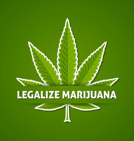 indica: Legalize marijuana hemp (Cannabis sativa or Cannabis indica) leaf on green background