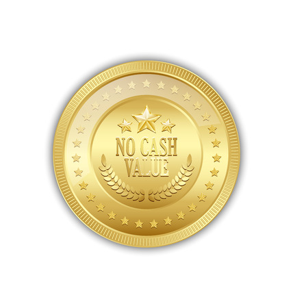 token: Golden token with lettering NO CASH VALUE and decorated with stars placed on white background Illustration
