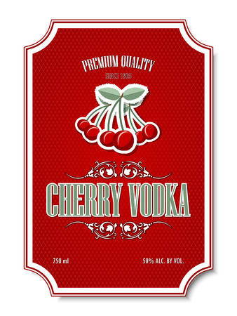 distilling: Premium quality cherry vodka distillate label on white background Illustration