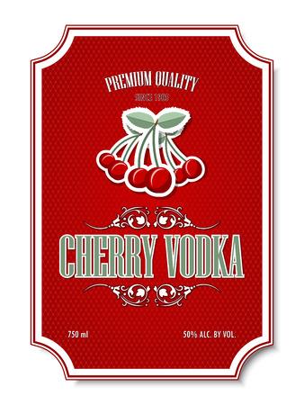 distilling: Premium quality cherry vodka distillate label on white background Illustration