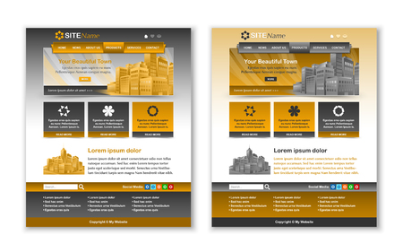 customizable: Easy customizable yellow ochre and dark grey website template layouts