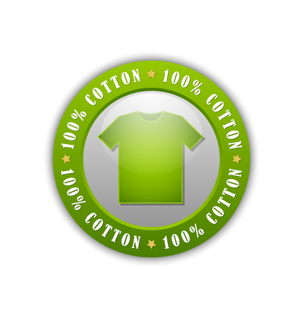 100% cotton T-Shirt badge or icon isolated on white background